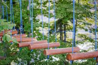 Photo of rope ladder in summer park in afternoon
